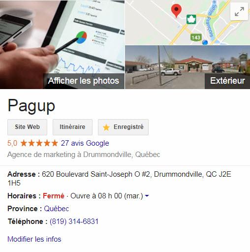 Google mon entreprise, Pagup, Agence SEO